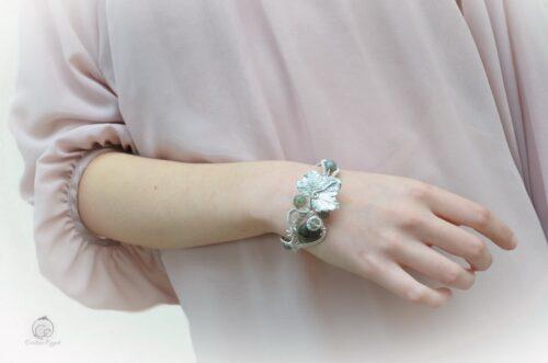 Brățară unicat din argint și labradorit, cadou femei, bijuterii gala, bratara argint, bijuterii argint, bratara frunza