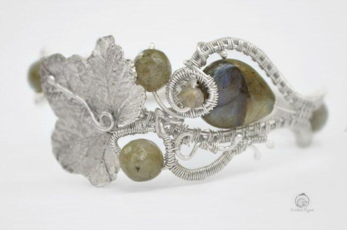 Brățară unicat din argint și labradorit, bratara argint, bijuterii argint, argint handmade, cadou femei