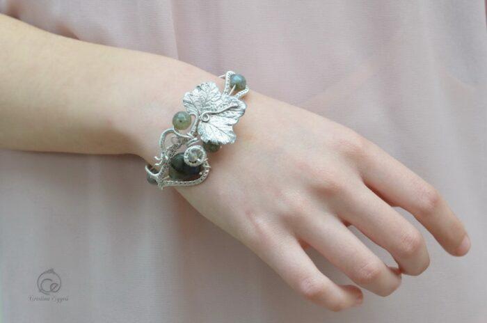 Brățară unicat din argint și labradorit, bratara argint, bijuterii argint, bijuterii handmade argint