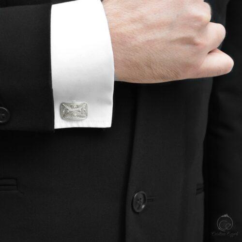Butoni unicat din argint filigranat, butoni argint, butoni cămașă bărbați