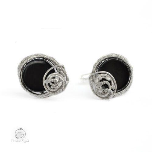 Butoni unicat din argint și onix negru, butoni argint, cadou bărbați