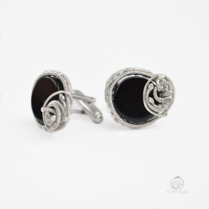 Butoni unicat din argint și onix negru, butoni argint, bijuterii bărbați