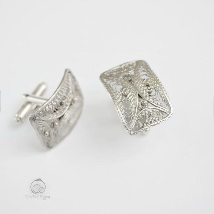 Butoni unicat din argint filigranat, butoni argint, cadou bărbați