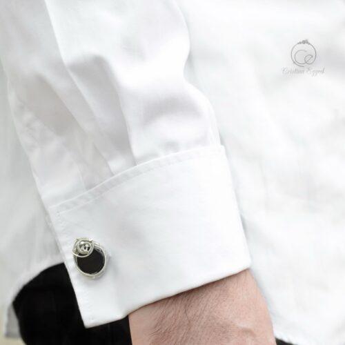 Butoni unicat din argint și onix negru, butoni argint, butoni cămașă
