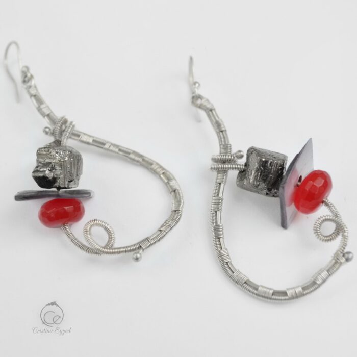 Cercei unicat din argint și pietre semipretioase, cercei argint, agat roșu, bijuterii argint