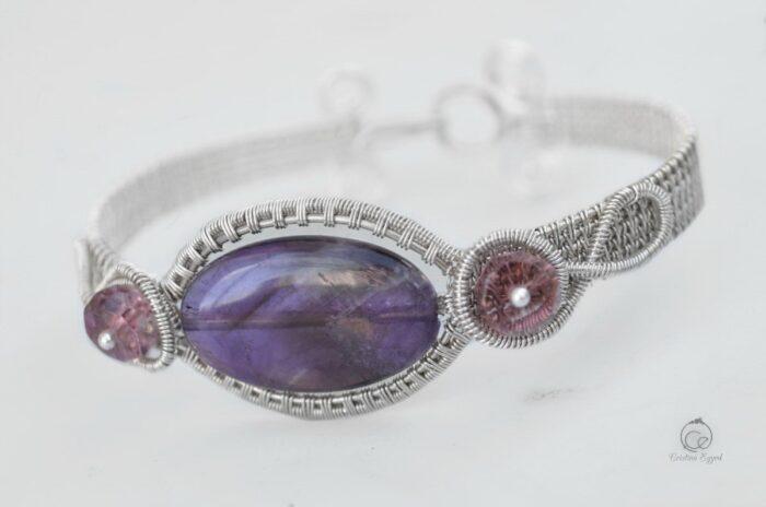 Brățară unicat din argint și ametist, bijuterii argint